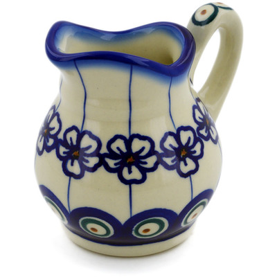Polish Pottery Creamer 4 oz Flowering Peacock