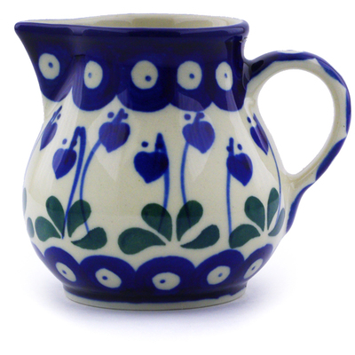 Polish Pottery Creamer 7 oz Bleeding Heart Peacock