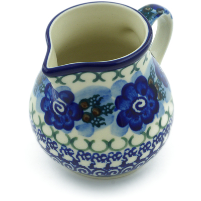 Polish Pottery Creamer 7 oz Blue Pansy Circle UNIKAT