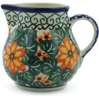 Polish Pottery Creamer 7 oz Orange Starflower UNIKAT