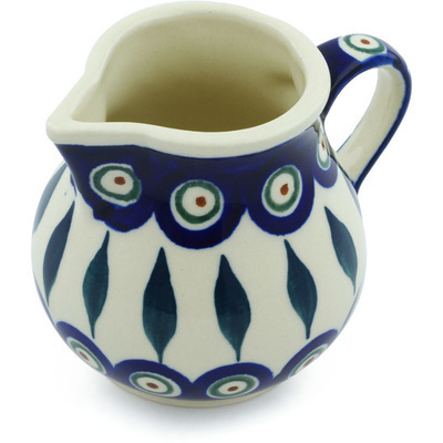 Polish Pottery Creamer 7 oz Peacock Leaves