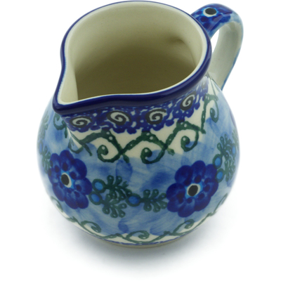 Polish Pottery Creamer 7 oz Poppy Chain UNIKAT