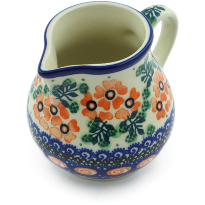 Polish Pottery Creamer 7 oz Red Floral Harmony UNIKAT