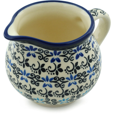Polish Pottery Creamer 8 oz Black And Blue Lace