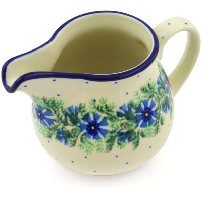 Polish Pottery Creamer 8 oz Blue Bell Wreath