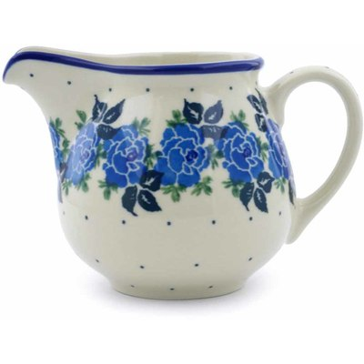 Polish Pottery Creamer 8 oz Blue Garland