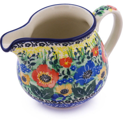 Polish Pottery Creamer 8 oz Hidden Meadow UNIKAT