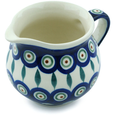 Polish Pottery Creamer 8 oz Peacock Leaves