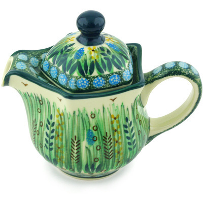 Polish Pottery Creamer with Lid 12 oz Prairie Land UNIKAT