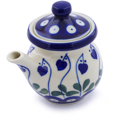 Polish Pottery Creamer with Lid 5 oz Bleeding Heart Peacock