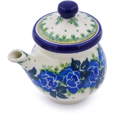 Polish Pottery Creamer with Lid 5 oz Blue Garland