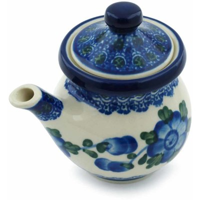 Polish Pottery Creamer with Lid 5 oz Blue Poppies