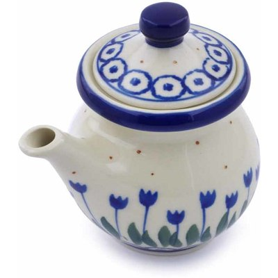 Polish Pottery Creamer with Lid 5 oz Water Tulip