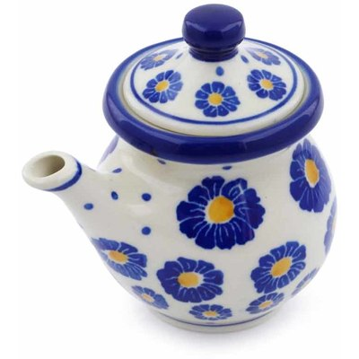 Polish Pottery Creamer with Lid 5 oz Wreath Of Blue