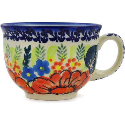 Polish Pottery Cup 10 oz Bold Poppies UNIKAT
