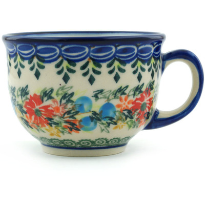 Polish Pottery Cup 10 oz Ring Of Flowers UNIKAT