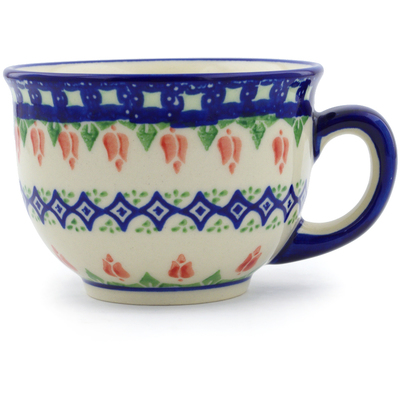 Polish Pottery Cup 10 oz Tulips And Diamonds