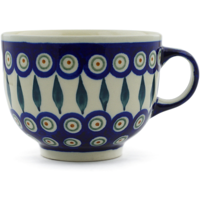 Polish Pottery Cup 17 oz Peacock Leaves