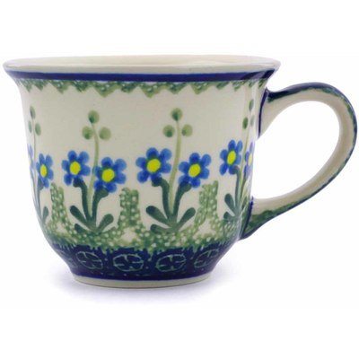 Polish Pottery Cup 6 oz Blue Daisy Circle