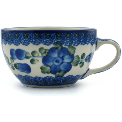Polish Pottery Cup 7 oz Blue Poppies