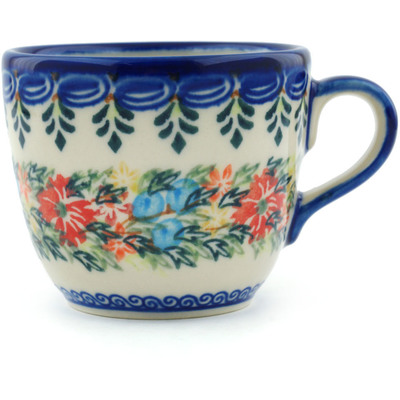 Polish Pottery Cup 7 oz Red Cornflower And Blue Butterflies UNIKAT