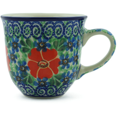 Polish Pottery Cup 8 oz Red Poppy Delight UNIKAT