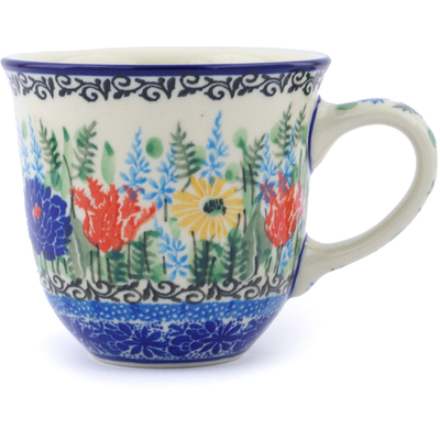 Polish Pottery Cup 8 oz Splendid Blue Bell UNIKAT