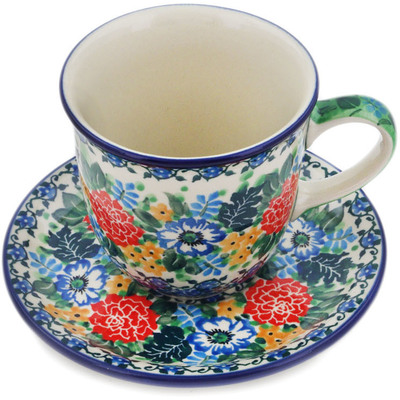 Polish Pottery Cup with Saucer 10 oz Hummingbird Meadow UNIKAT