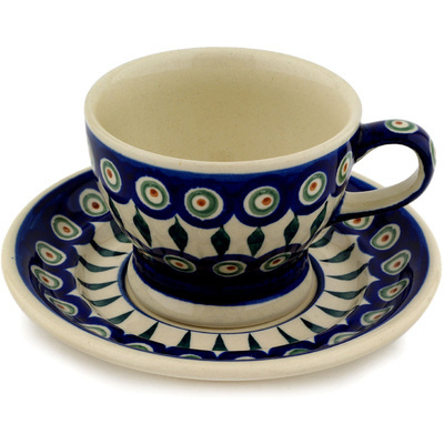 Polish Pottery Cup with Saucer 10 oz Peacock Leaves