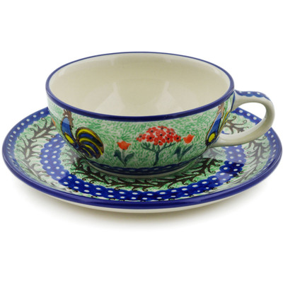 Polish Pottery Cup with Saucer 10 oz Rooster Dance UNIKAT