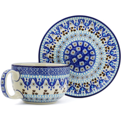 Polish Pottery Cup with Saucer 13 oz Blue Ice