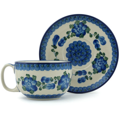 Polish Pottery Cup with Saucer 13 oz Blue Poppies