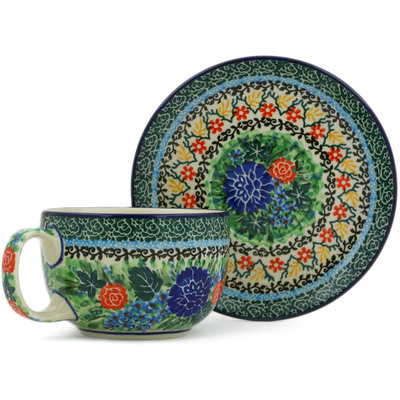 Polish Pottery Cup with Saucer 13 oz Garden Trellis UNIKAT