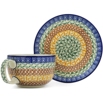Polish Pottery Cup with Saucer 13 oz Grecian Sea