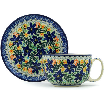 Polish Pottery Cup with Saucer 13 oz Sapphire Lilies UNIKAT