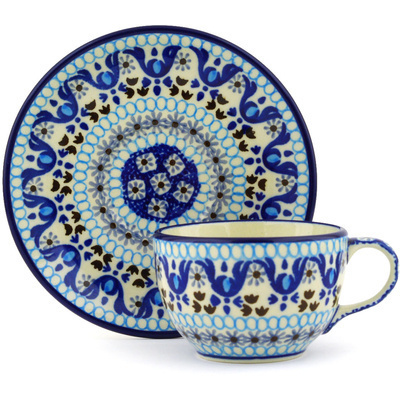Polish Pottery Cup with Saucer 4 oz Blue Ice