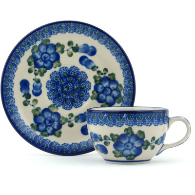 Polish Pottery Cup with Saucer 4 oz Blue Poppies