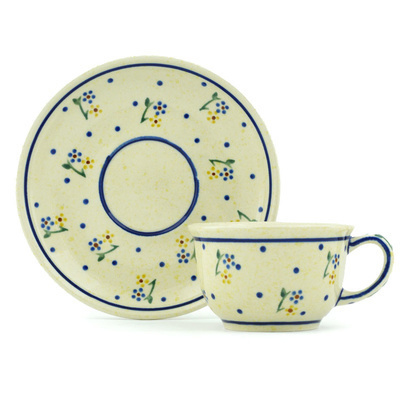 Polish Pottery Cup with Saucer 5 oz Country Meadow