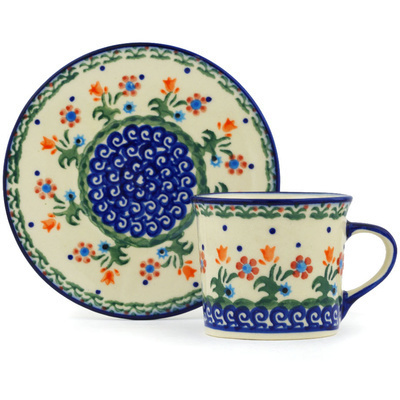 Polish Pottery Cup with Saucer 6 oz Spring Flowers