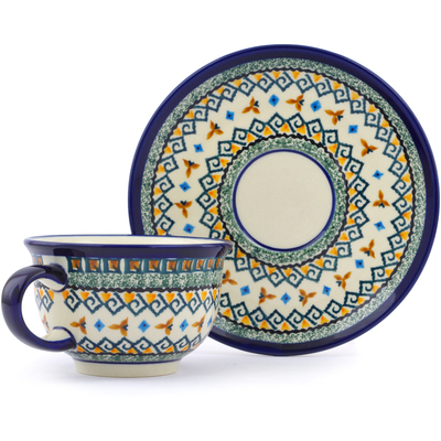Polish Pottery Cup with Saucer 7 oz Albuquerque UNIKAT