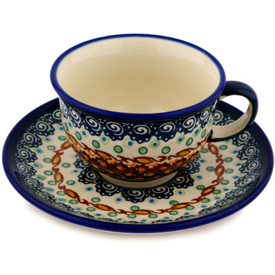Polish Pottery Cup with Saucer 7 oz Artichoke Heart UNIKAT