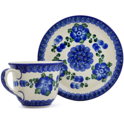 Polish Pottery Cup with Saucer 7 oz Blue Poppies