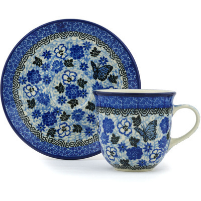 Polish Pottery Cup with Saucer 7 oz Butterfly Dream UNIKAT