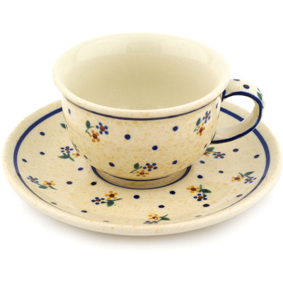 Polish Pottery Cup with Saucer 7 oz Country Meadow