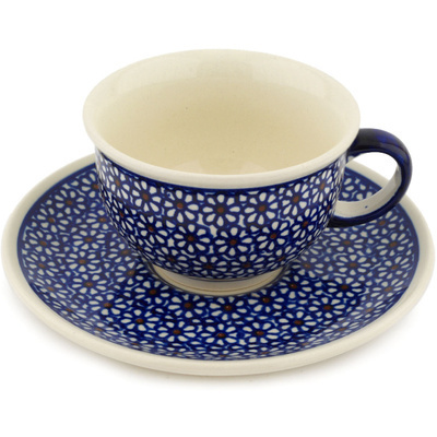 Polish Pottery Cup with Saucer 7 oz Daisy Dreams