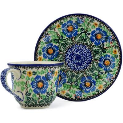 Polish Pottery Cup with Saucer 7 oz Grecian Blooms UNIKAT