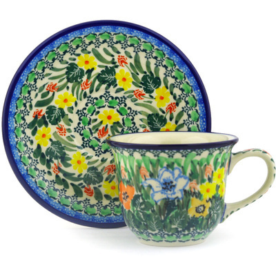 Polish Pottery Cup with Saucer 7 oz Lily Meadow UNIKAT