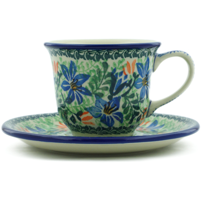 Polish Pottery Cup with Saucer 7 oz Morning Lilies UNIKAT