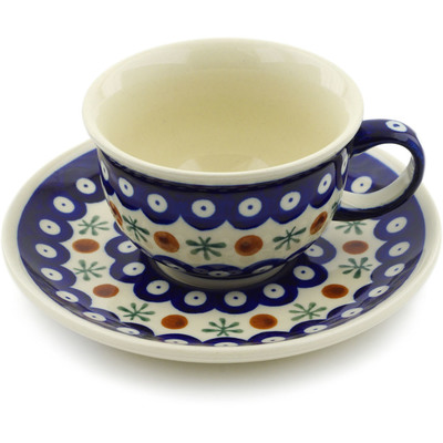 Polish Pottery Cup with Saucer 7 oz Mosquito