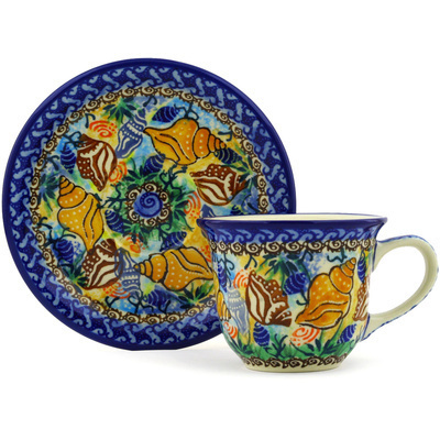 Polish Pottery Cup with Saucer 7 oz Ocean Whisper UNIKAT